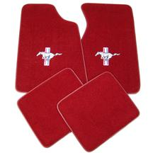 Mustang Medium/Scarlet Red Floor Mats w/ Pony Logo (82-92)