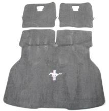 84-86 MUSTANG HATCH AREA CARPET WITH RUNNING PONY LOGO, DARK GRAY/SVO GRAY