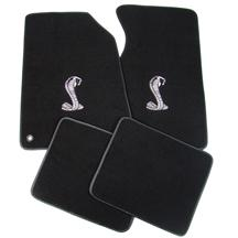 Mustang ACC Floor Mats with Cobra Snake Logo Black (94-98)