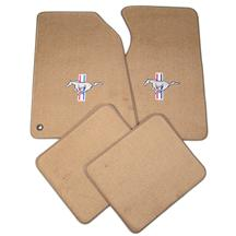 Mustang ACC Floor Mats with Pony Logo Saddle Tan (94-98)