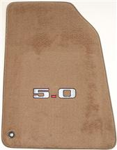 94-98 MUSTANG SADDLE TAN FLOOR MATS W/ 5.0 LOGO
