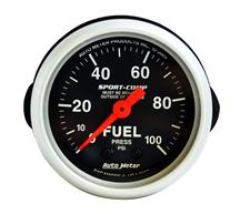 "Auto Meter 2 1/16"" Mechanical Fuel Pressure Gauge 0-100 Psi Sport Comp"