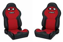 Mustang Corbeau VX2000 Seat Pair Black Vinyl/Red Cloth Insets