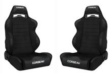 Mustang Corbeau LG1 Wide Seat Pair Black Cloth