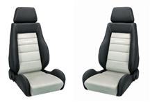 Mustang Corbeau GTS Seat Pair Black Leather/Gray Microsuede Insert