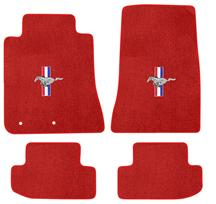 Mustang Lloyd Floor Mats - Tri-Bar Pony Logo Red (2015)