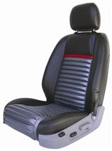 Mustang Mach 1 Upholstery Black/Red Stripe Leather (05-07) Coupe