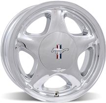 Mustang Pony Wheel w/ Ford Licensed Center Cap - 16x7 Chome (79-93)