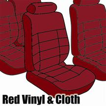 Mustang TMI Seat Upholstery Medium Red Cloth/Vinyl (1983) Hatchback