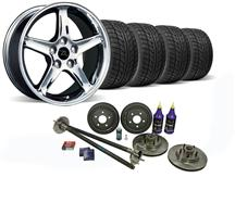 Mustang Cobra R Wheel & Nitto Tire Kit  W/ Mustang 5 Lug Conversion Kit Chrome (87-93)