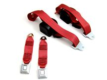 Mustang Front Seatbelt Set Scarlet Red (87-89)