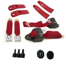 Mustang Front Seatbelt Kit Scarlet Red (90-92)