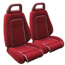 Mustang GT Cloth Seat Upholstery Red with Gray Welt (85-86) Convertible