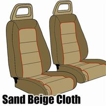 Mustang GT Cloth Seat Upholstery Tan with Red Welt (85-86) Convertible