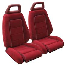 Mustang GT Cloth Sport Seat Upholstery Canyon Red with Red Welt (85-86) Hatchback