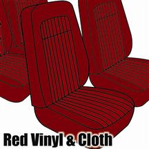 Mustang TMI Seat Upholstery Red Cloth/Vinyl (79-80) Coupe