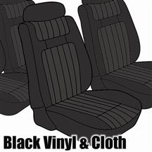 Mustang TMI Seat Upholstery Black Cloth/Vinyl (79-80) Ghia Coupe