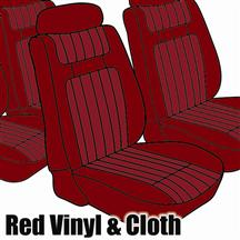 Mustang TMI Seat Upholstery Red Cloth/Vinyl (79-80) Ghia Coupe