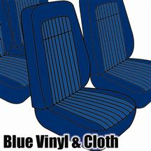 Mustang TMI Seat Upholstery Blue Cloth/Vinyl (79-80) High Hatchback