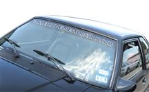 Mustang Latemodelrestoration.Com Windshield Banner White (79-93)