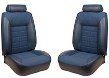 Mustang TMI Seat Upholstery Wedgewood Blue Cloth/Vinyl (81-82) Coupe