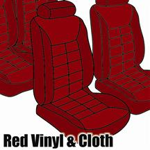 Mustang TMI Seat Upholstery Medium Red Cloth/Vinyl (81-82) Low Hatchback