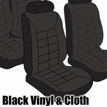 Mustang TMI Seat Upholstery Black Cloth/Vinyl (81-82) Low Hatchback