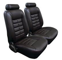 Mustang TMI Seat Upholstery Black Leather (81-83) Low Back Coupe