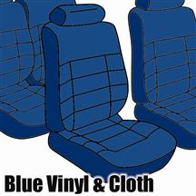1985-86 Mustang Convertible Regatta Blue Cloth Seat Upholstery, Standard Low Back