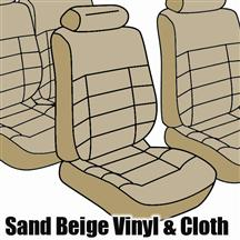 1985-86 Mustang Convertible Sand Beige Cloth Seat Upholstery, Standard Low Back