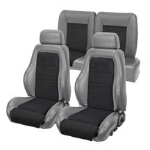 Mustang TMI 03-04 Cobra Seat Upholstery w/ Seat Foam Smoke Gray/Black Suede (87-89) Coupe