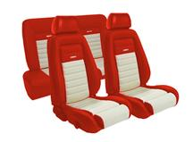 Mustang TMI Pony Seat Upholstery Red/White Vinyl (87-89) Coupe