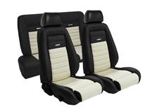 Mustang TMI Pony Seat Upholstery Black/White Vinyl (87-89) Convertible