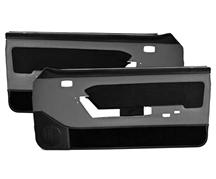Mustang Power Window Door Panels Smoke Gray w/ Black Suede Insert/ Black Carpet (87-89) Hardtop