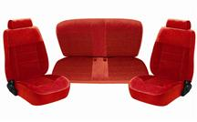 Mustang TMI Seat Upholstery Scarlet Red Cloth (90-92) Hatchback