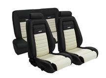 Mustang TMI Pony Seat Upholstery Black/White Vinyl (90-91) Coupe