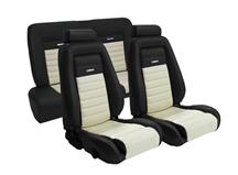 Mustang TMI Pony Sport Seat Upholstery White/Black Vinyl (92-93) Coupe