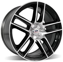 "2005-14 MUSTANG FORD RACING 2012 BOSS 302 LAGUNA SECA 19X9"" FRONT BLACK WHEEL WITH MACHINED FACE, M-1007-DC199LGB"