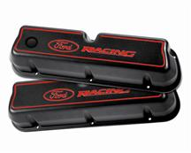 Mustang Ford Racing Logo Tall Valve Covers, Carbureted Black/Red