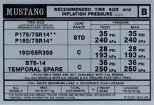 Mustang Tire Pressure Decal (1982)