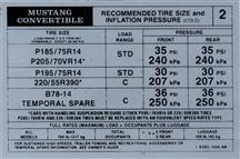 Mustang Tire Pressure Decal (1983) Convertible