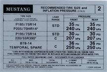 Mustang Tire Pressure Decal (1983) Coupe  Hatchback