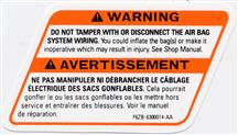 Mustang Air Bag Warning Decal (1996)