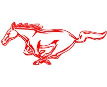 "Mustang 12"" Running Pony Decal LH Red"