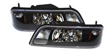 1987-93 Mustang Black One Piece Headlight Pair