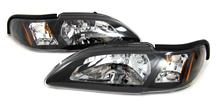 1994-98 Mustang Black One Piece Headlight Pair