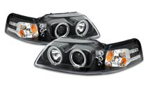Mustang Halo LED Projector Headlight Kit Black (99-04)