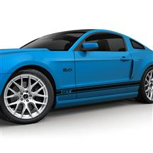 Mustang SVE Rocker Stripe Decal Kit, GT Logo Gloss Black (05-14)