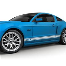 Mustang SVE Rocker Stripe Decal Kit, GT Logo Silver (05-14)