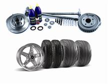 Mustang SVE  5 Lug Conversion w/ Chrome Drag Wheel & Tire Kit 28 Spline (87-93)